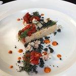 Pressé de foie gras de canard & anguille fumée, crumble iodé et pequillios