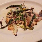 Branzinp with capers, asparagus, fennel lemon butter