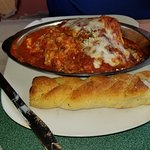 Lasagna and garlic breadstick. The lasagna is awesome. Bread, so-so.