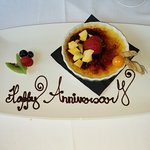 Complimentary dessert honoring our annivesary.