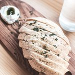herbed focaccia with basil oil and butter