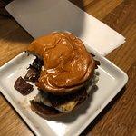 Bacon burger slider w/caramelized onions. So good.