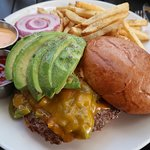 green chili smashburger with avocado