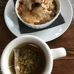 Smith Tea with Cobbler for Dessert. Fantastic flavors.