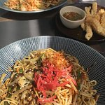 Calamari, Pad Thai and Yasai yaki soba