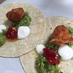 Soft taco with avocado, chimmi churri & goats cheese - starter