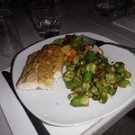 Barracuda with okra and salad. Extremely well prepared!