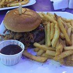The Elvis burger, with pulled pork and BBQ sauce. Beauty.