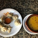 Moms (steamed dumplings) and Lentil Dal soup