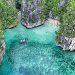 Lagoon Swimming - Drone Shot of Longtail Boat - look closely there are four customers swimming i