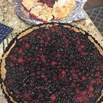 We had a wonderful time picking raspberries and blueberries from bountiful bushes. My tarts were