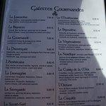 Carte des galettes gourmandes