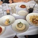 Crab lasagne, artichoke hearts and portobello mushroom, kids chicken fingers