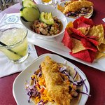 Fish Tacos and Shrimp Ceviche to die for!