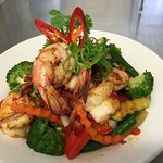 Locally caught King Prawns in either Chilli or Garlic