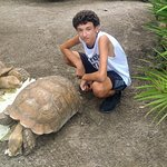 Jake and a Red Footed Tortoise