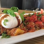 Burrata with tomato coulis appetizer