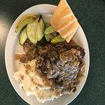Salisbury Steak and mashed potatoes