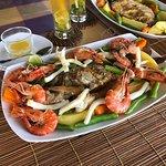 grilled fish with prawns calamari and vegetable