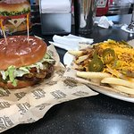 Cheeseburger with chili cheese fries