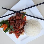 Lunch Special!! Crispy Beef Chilli Plum with Steamed Rice