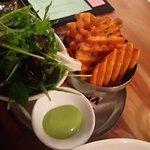 Salad and Waffle Fries