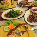 ribs, morning glory in oyster sauce, fried rice with pork and fried rice with shrimp, deepfried