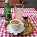 Traditional coffee with mineral water