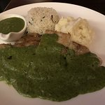 grilled fish in cilantro sauce