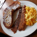 Pane d'amore French Toast with scrambled eggs and cheese