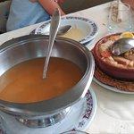 Cocido maragato- sopa fideos y sopa de pan