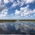 View of the sky reflecting off of the water in the Everglades
