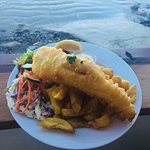 Our Famous Blue Cod, Chips and Salad