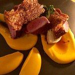 pan-seared duck breast w/yam purée, ginger pear caramel and oak crisps