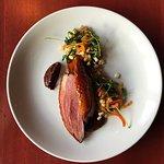 Duck, Corn-Pepper Salad, Quinoa, Mole Sauce