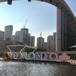 Toronto sign with aboriginal print inside the letters