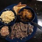 Pork BBQ, Mac & Cheese, sweet potato smash