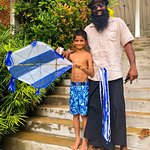 Shanjei brought my nine year old son an authentic hand made kite to fly in Galle after our tour!