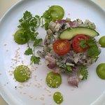 le FAMEUX tartare de daurade (la sauce verte, je dirais tarama/wasabi mais je n'ai pas demandé)