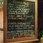 Dinner menu.