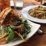 black and blue salad with tofu and haystack onions; vegetable pasta with jackfruit