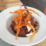 Roasted butternut and beetroot salad with sweet potato crisps