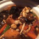 Homemade tofu and wild mushrooms