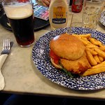 Chicken breast burger, chips and a beer for £6.05.  Bargain!