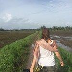 Walking between rice paddy fields