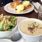 Soup (upgrade to the Seafood chowder) and salad. Eggs bene with back bacon