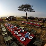 Champagne breakfast post hot air balloon ride in the Maasai Mara