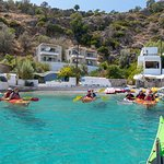 Ready to go after our lunch stop at Loutro village (accessible only by kayak, foot or boat)
