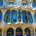 Modern city with Antoni Gaudi's masterpieces