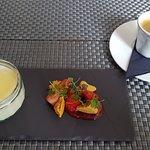 Dessert, light combination panacotta & honey
